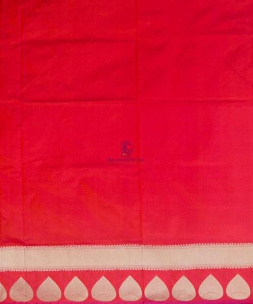 Banarasi Pure Katan Silk Handloom Rose Red Saree 7
