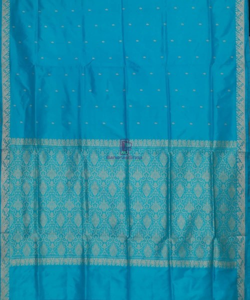 Banarasi Pure Katan Silk Handloom Sky Blue Saree 5