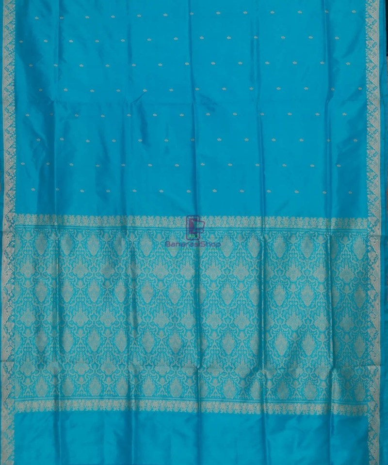 Banarasi Pure Katan Silk Handloom Sky Blue Saree 2