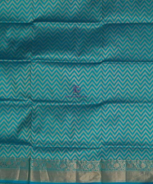 Banarasi Pure Katan Silk Handloom Cyan Blue Saree 7