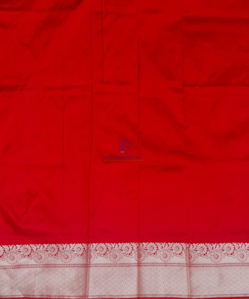 Banarasi Pure Katan Silk Handloom Cherry Red Saree 4