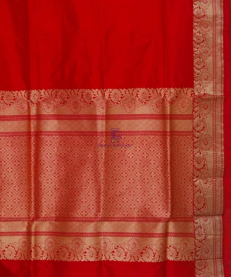 Banarasi Pure Katan Silk Handloom Ruby Red Saree 3