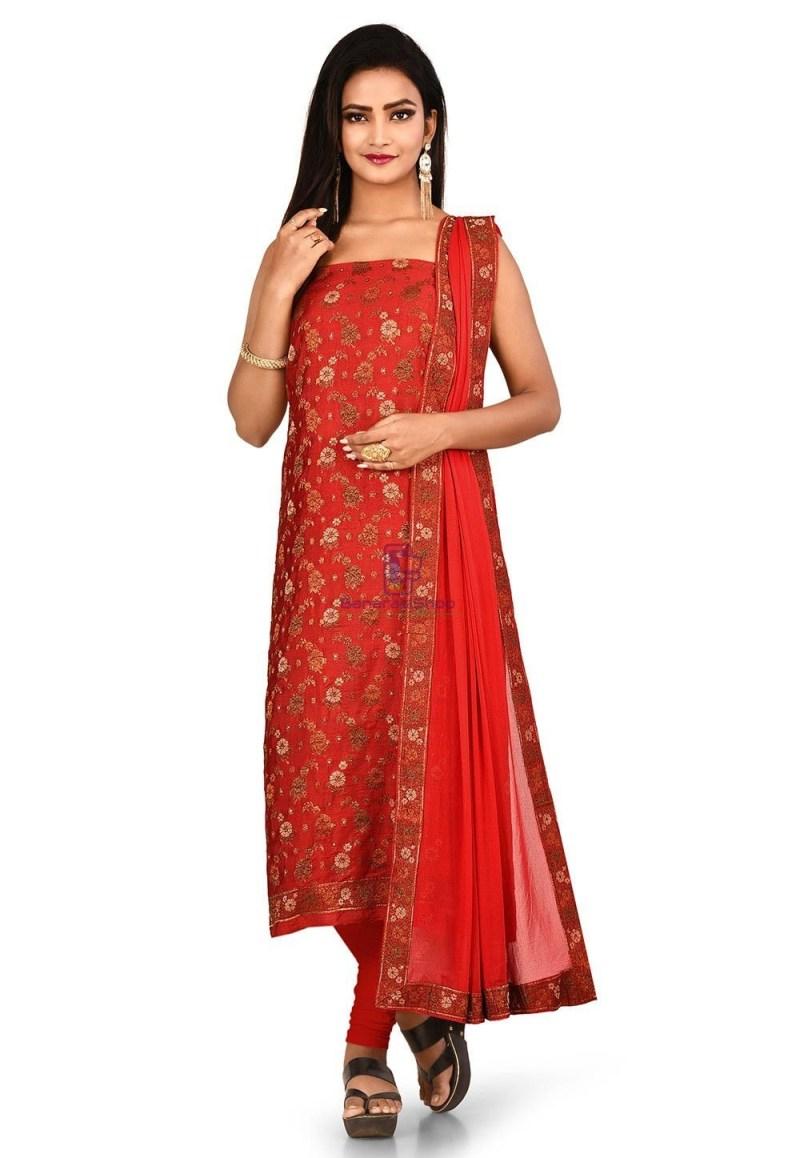 Woven Banarasi Art Silk Straight Suit in Red 1