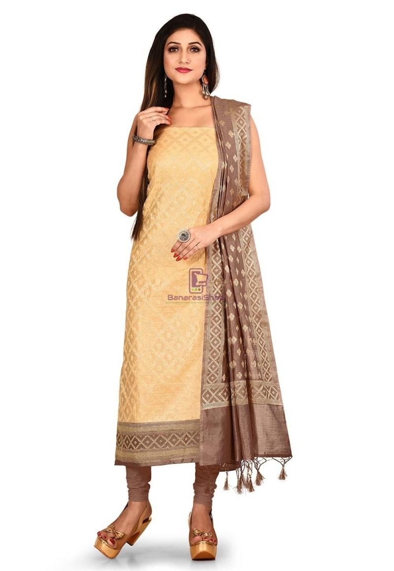 Woven Banarasi Cotton Silk Straight Suit in Beige 1
