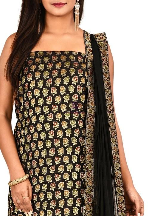 Woven Banarasi Cotton Silk Straight Suit in Black 3