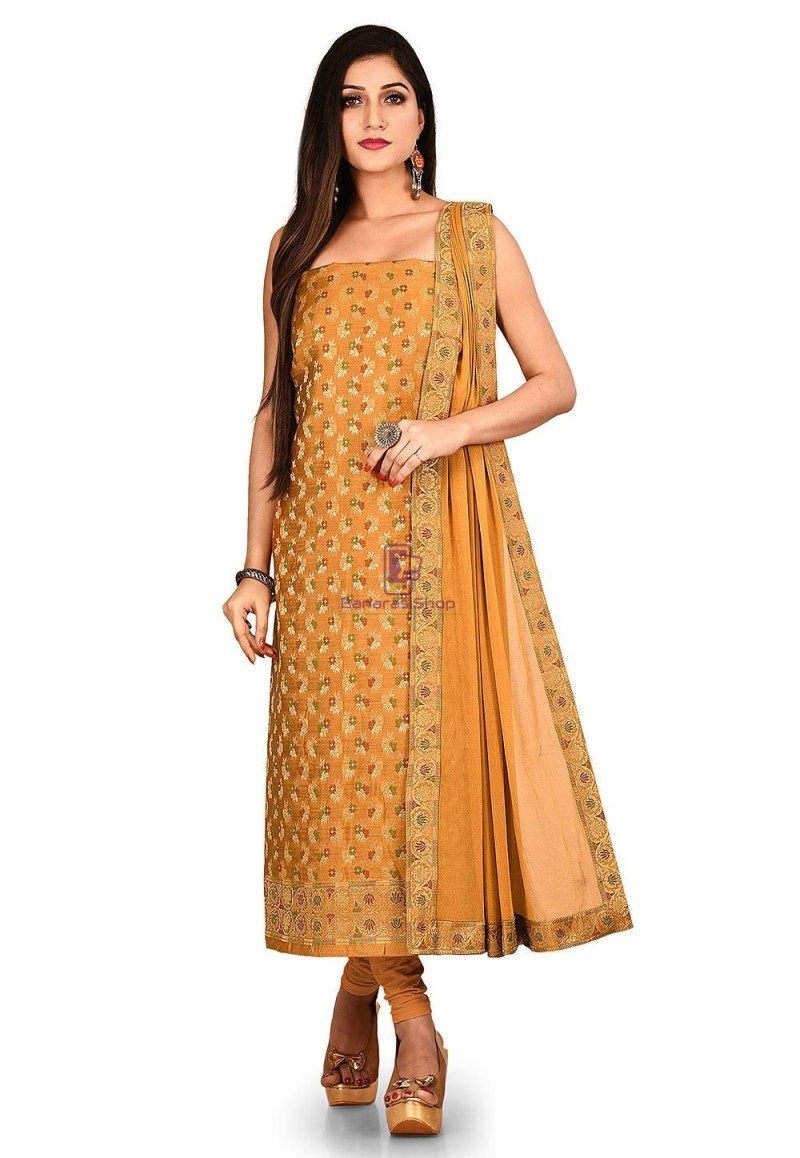 Woven Banarasi Cotton Silk Straight Suit in Brown 1