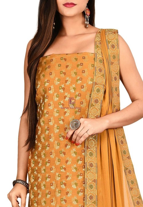 Woven Banarasi Cotton Silk Straight Suit in Brown 3