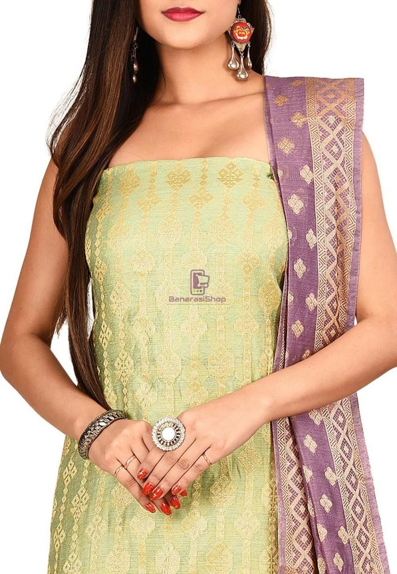 Woven Banarasi Cotton Silk Straight Suit in Green 2