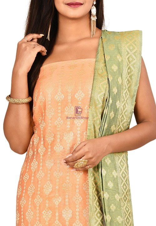 Woven Banarasi Cotton Silk Straight Suit in Orange 3
