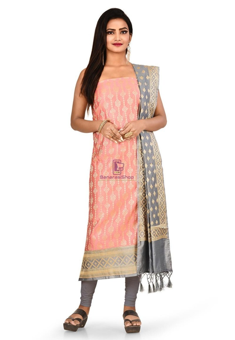 Woven Banarasi Cotton Silk Straight Suit in Pink 1