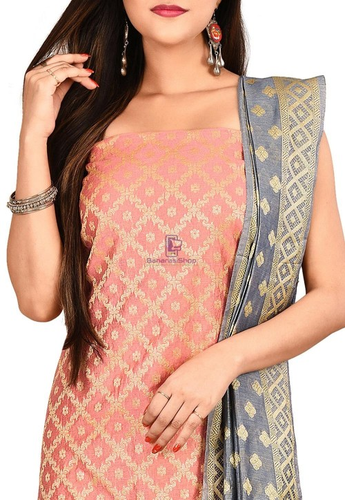 Woven Banarasi Cotton Silk Straight Suit in Pink 3