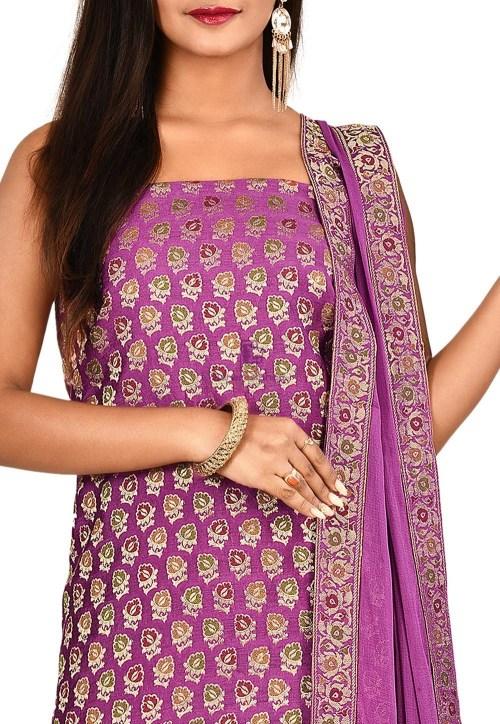 Woven Banarasi Cotton Silk Straight Suit in Purple 3