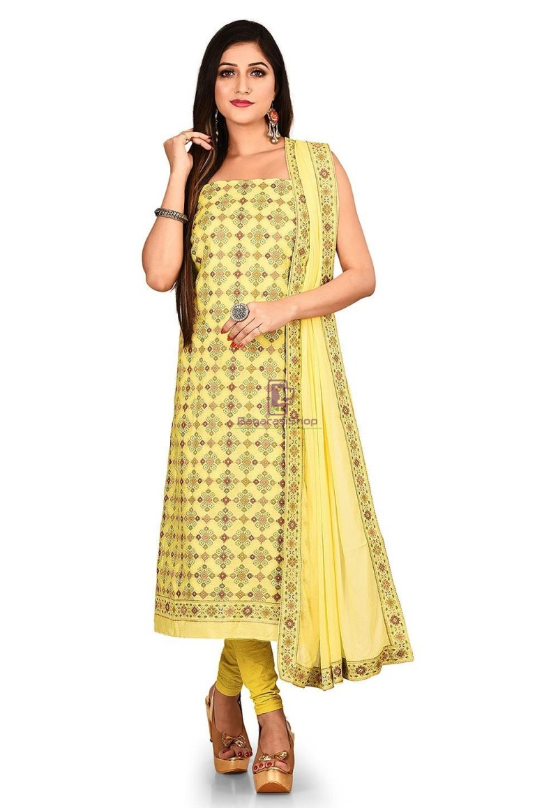 Woven Banarasi Cotton Silk Straight Suit in Yellow 1