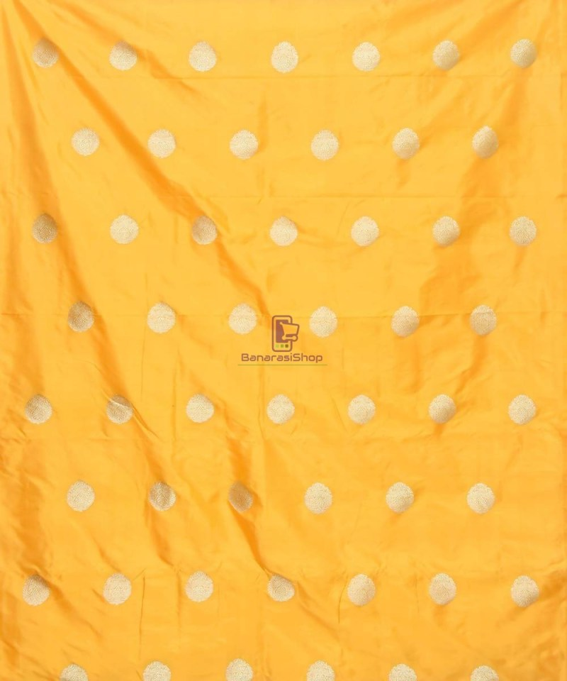 Banarasi Pure Handloom Katan Silk Fabric in Yellow 2