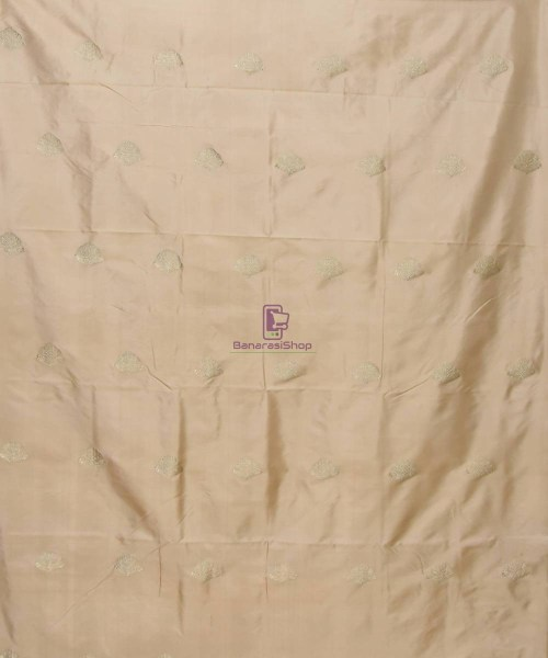 Banarasi Pure Handloom Katan Silk Fabric in Beige 3