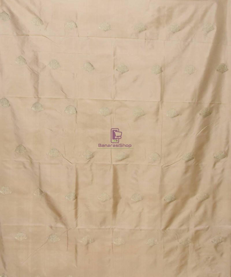 Banarasi Pure Handloom Katan Silk Fabric in Beige 2