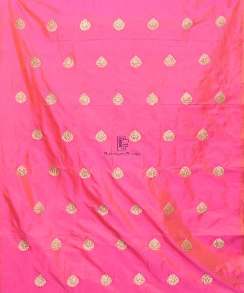 Banarasi Pure Handloom Katan Silk Fabric in Fuschia Pink 3