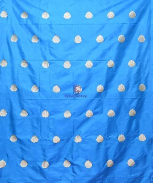 Banarasi Pure Handloom Katan Silk Fabric in Blue 3
