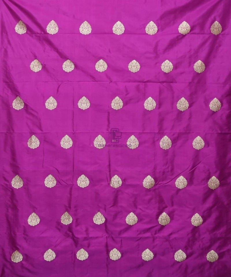 Banarasi Pure Handloom Katan Silk Fabric in Purple 2
