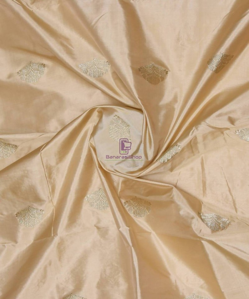 Banarasi Pure Handloom Katan Silk Fabric in Beige 1