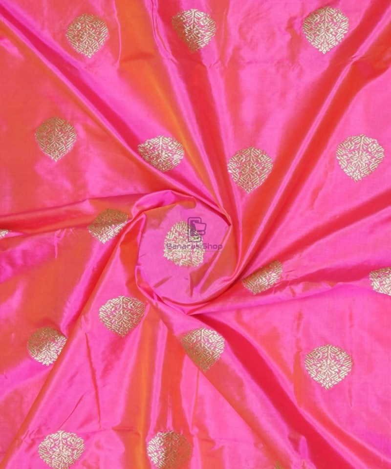 Banarasi Pure Handloom Katan Silk Fabric in Fuschia Pink 1