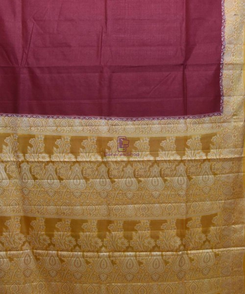 Woven Pure Tussar Silk Banarasi Saree in Dark Mauve 5