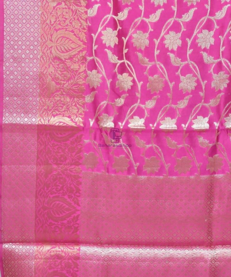 Pure Silk Banarasi Dupion Katan Handloom Saree in Magenta 2
