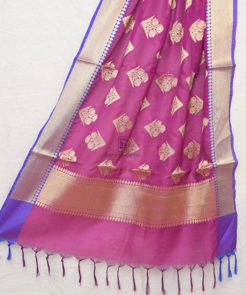 Woven Banarasi Art Silk Banarasi Dupatta in Purple Pink 1
