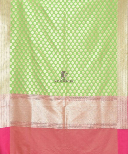 Woven Banarasi Art Silk Dupatta in Lime Green 3