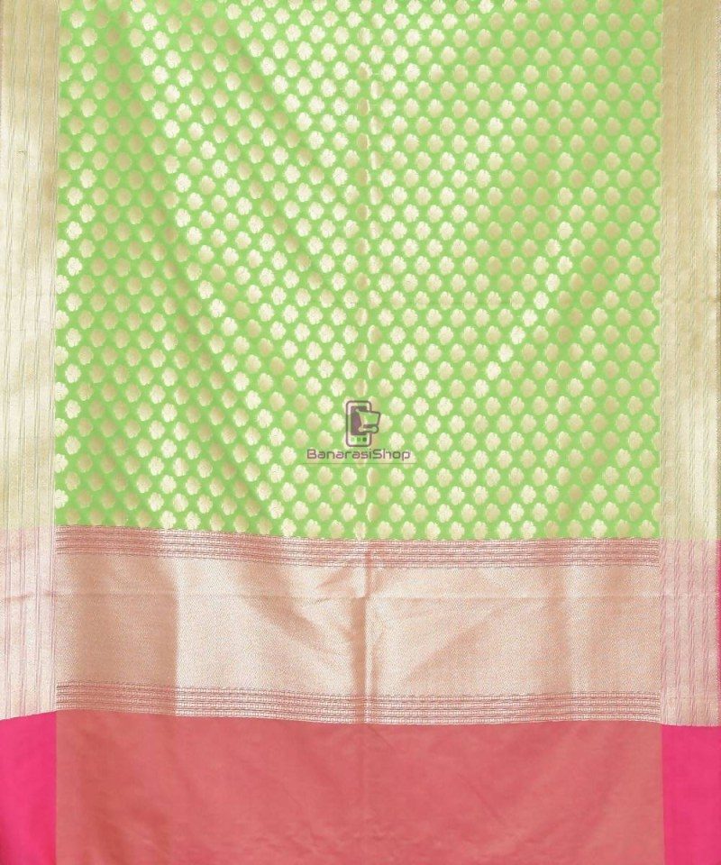 Woven Banarasi Art Silk Dupatta in Lime Green 2