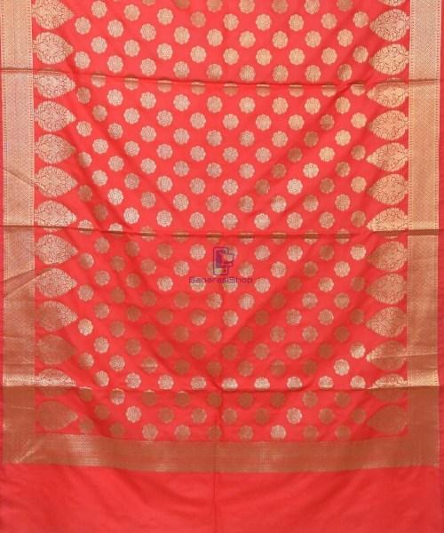 Woven Banarasi Art Silk Dupatta in Rose Red 3