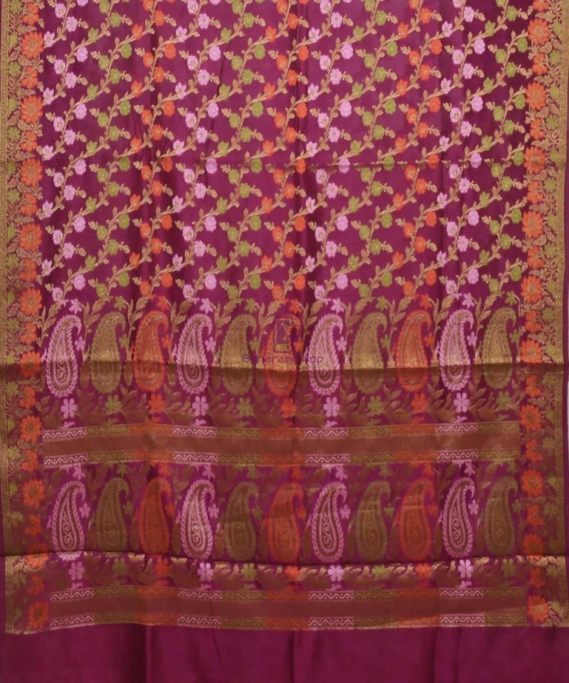 Pure Silk Banarasi Dupion Katan Handloom Saree in Wine Purple 1