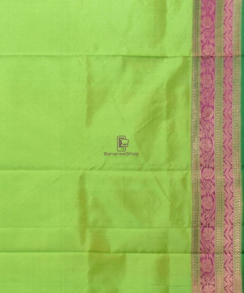 Banarasi Pure Katan Silk Handloom Lime Green Saree 7