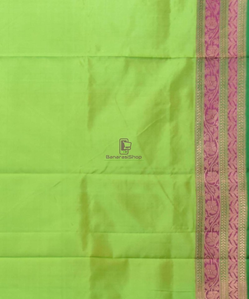 Banarasi Pure Katan Silk Handloom Lime Green Saree 4