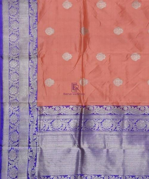 Banarasi Pure Katan Silk Handloom Peach Pink Saree 5