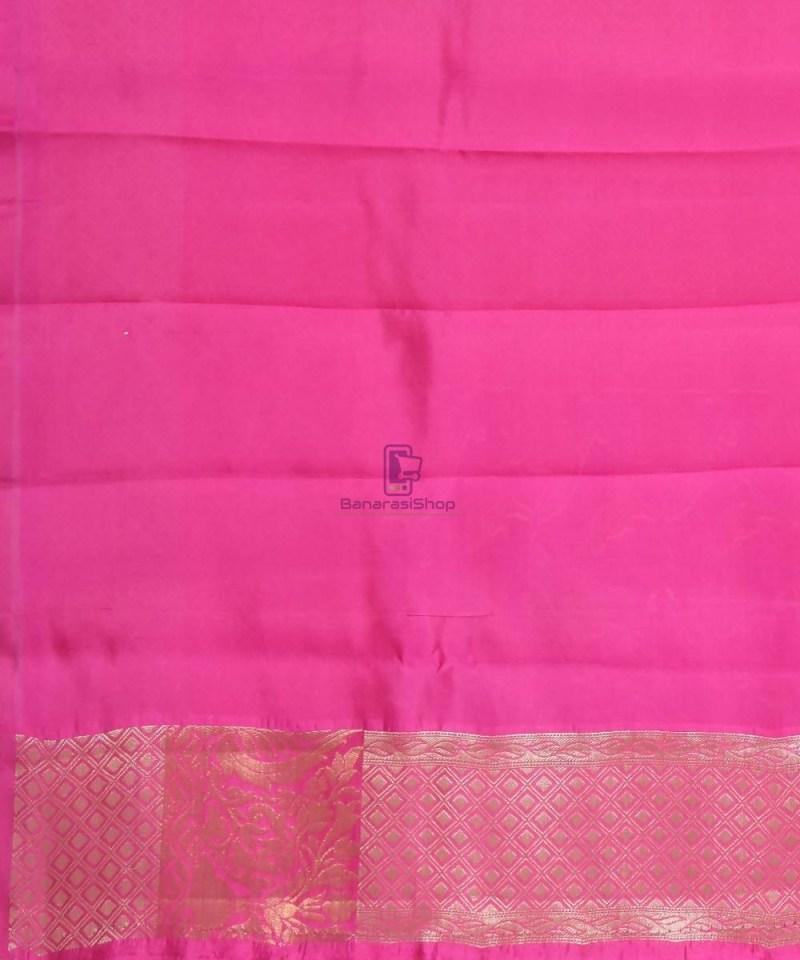 Pure Silk Banarasi Dupion Katan Handloom Saree in Magenta 4