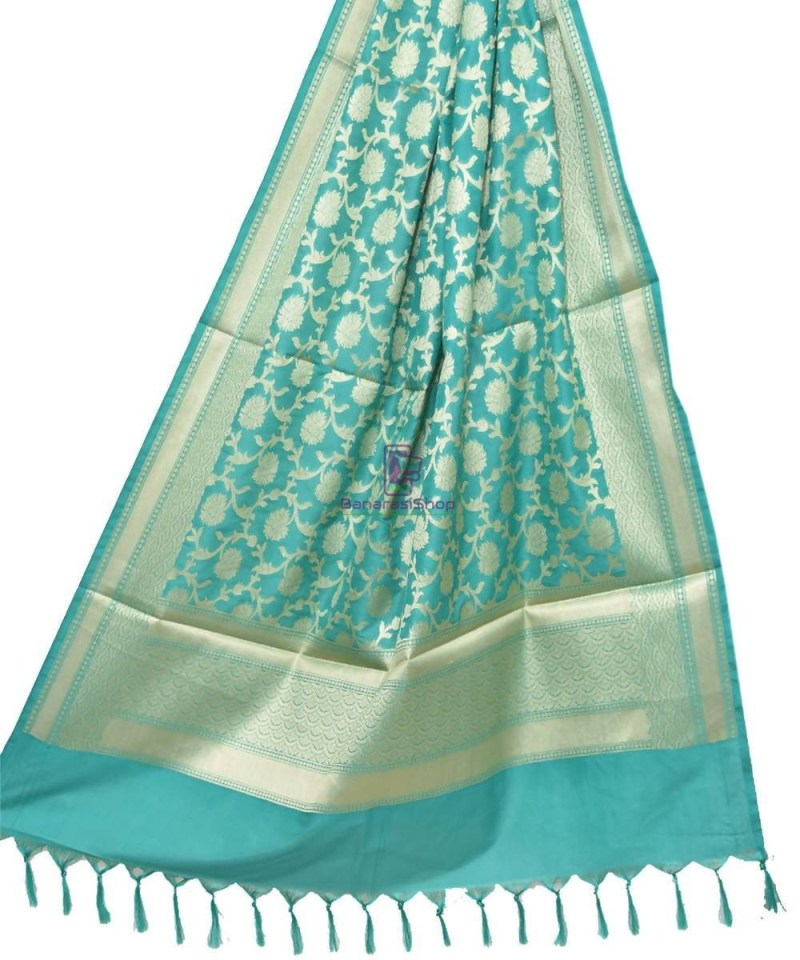 Woven Banarasi Art Silk Dupatta in Cyan Blue 1