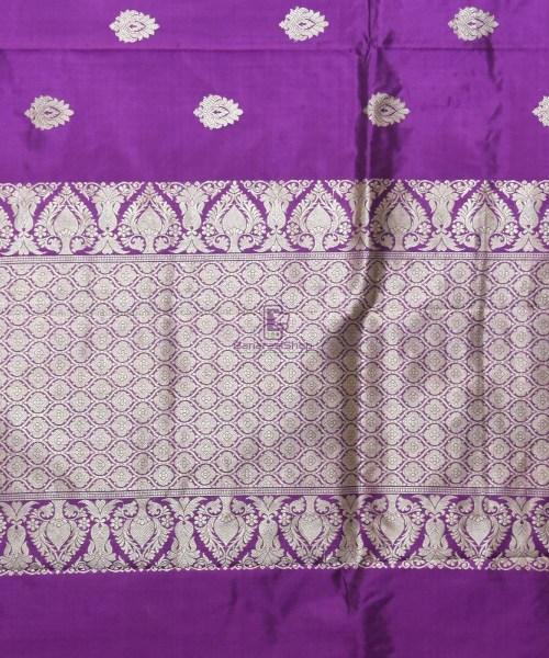 Banarasi Pure Katan Silk Handloom Purple Saree 6