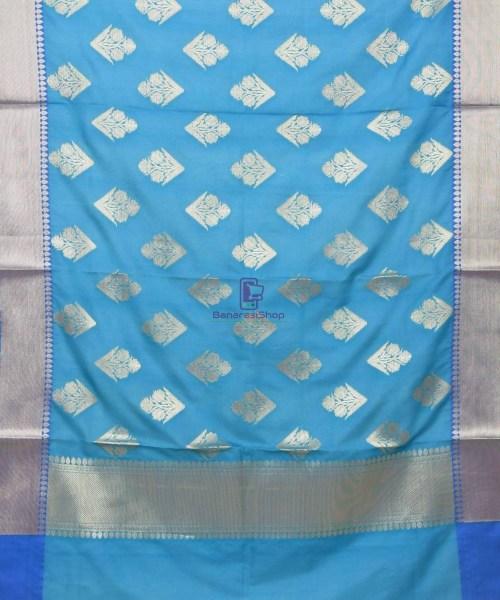 Woven Banarasi Art Silk Dupatta in Cerulean Blue 3