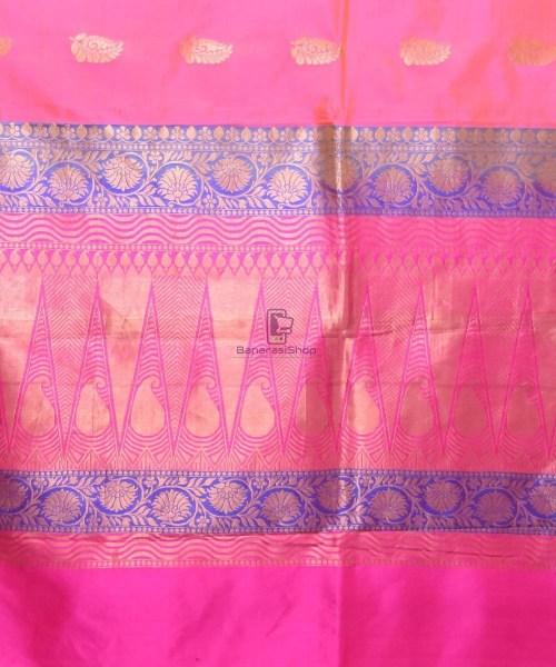 Banarasi Pure Katan Silk Handloom Bubblegum Pink Saree 6