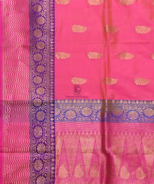 Banarasi Pure Katan Silk Handloom Bubblegum Pink Saree 5