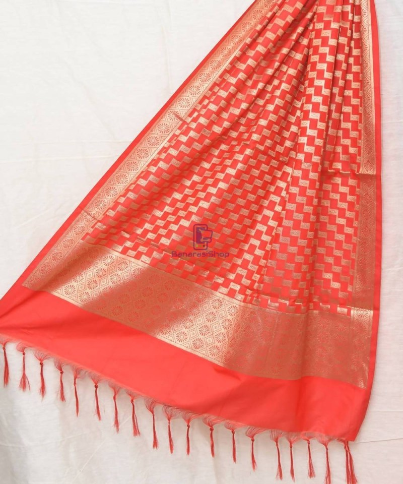 Woven Banarasi Art Silk Dupatta in Rose Red 1