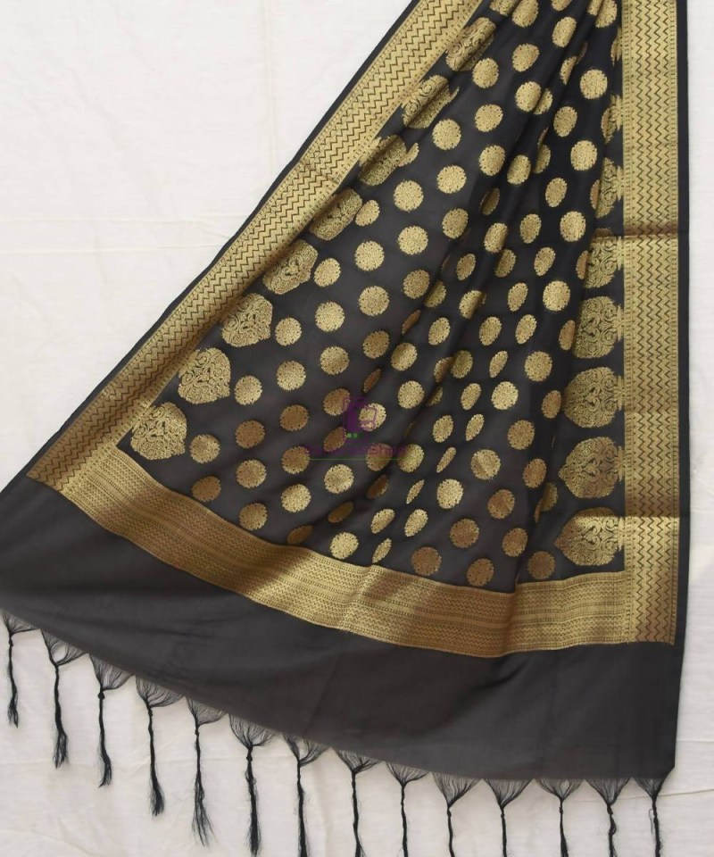 Woven Banarasi Art Silk Dupatta in Black 1
