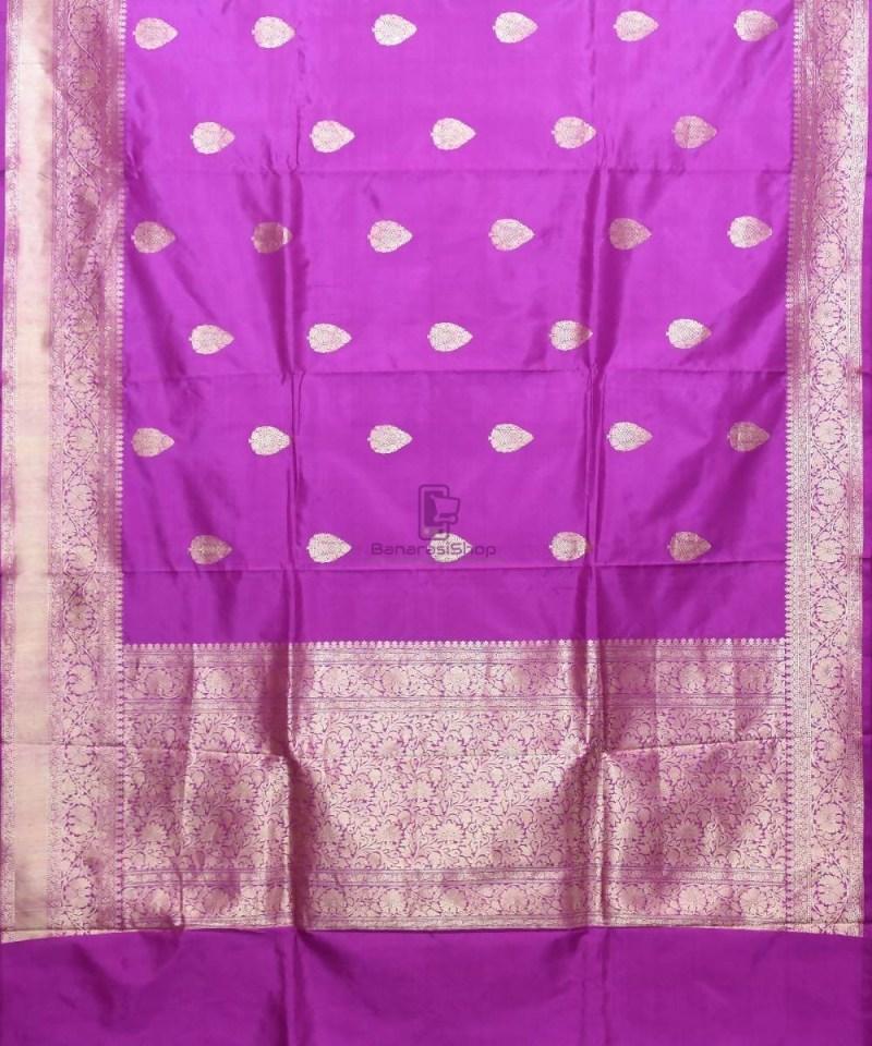 Banarasi Pure Katan Silk Handloom Purple Saree 1