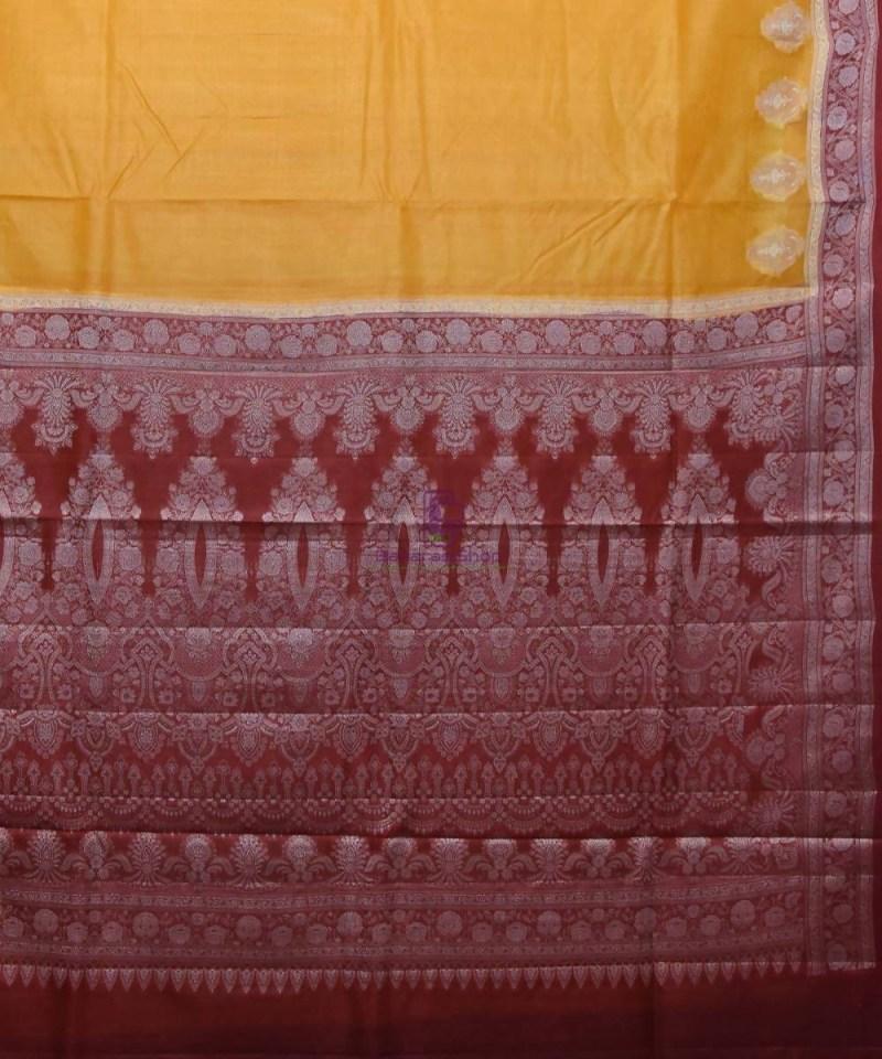 Woven Pure Tussar Silk Banarasi Saree in Mustard Yellow 2