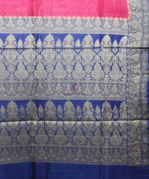Woven Pure Tussar Silk Banarasi Saree in Fuschia Pink 6