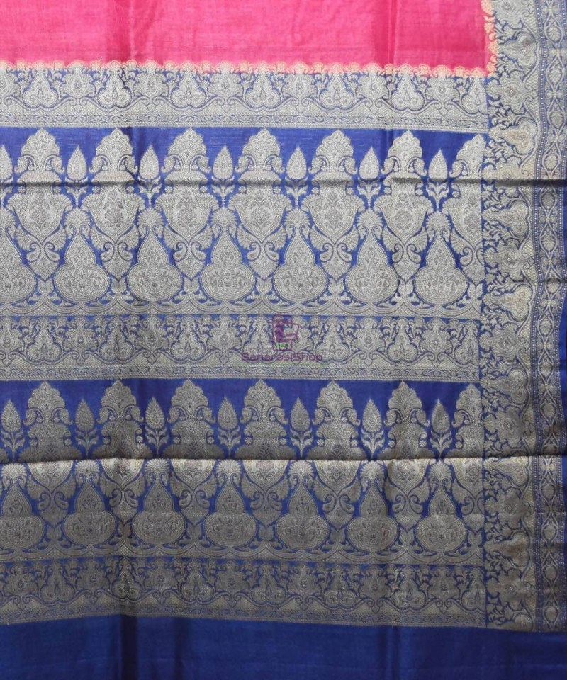 Woven Pure Tussar Silk Banarasi Saree in Fuschia Pink 3