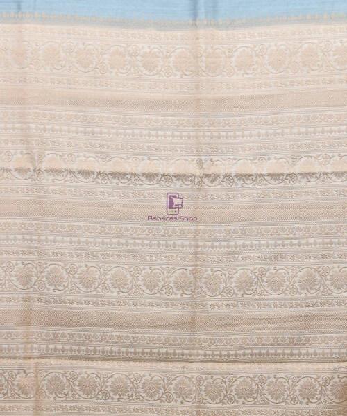 Woven Pure Muga Silk Banarasi Saree in Stone Blue 6