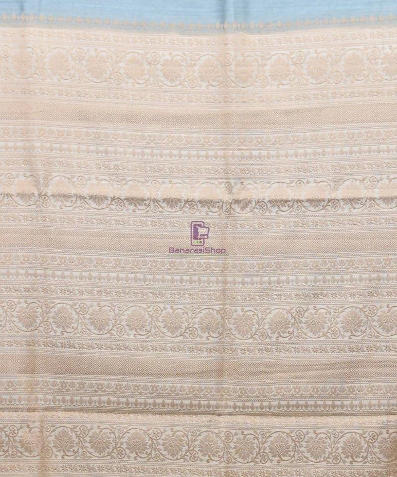Woven Pure Muga Silk Banarasi Saree in Stone Blue 3