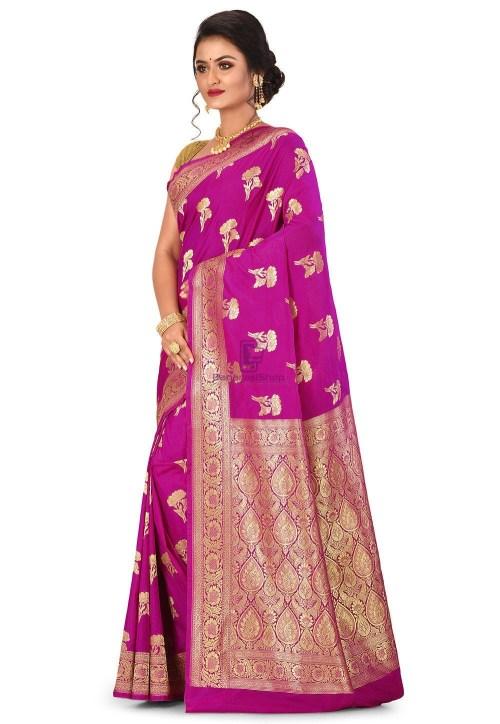 Banarasi Saree in Magenta 7